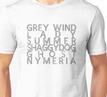 GoT Direwolf Typography (transparent) Unisex T-Shirt