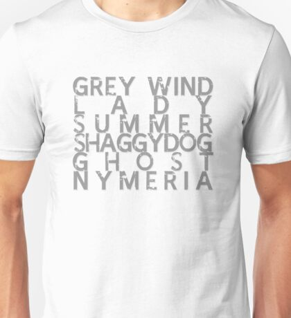 GoT Direwolf Typography (transparent) Unisex T-Shirt