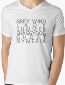 GoT Direwolf Typography (transparent) Mens V-Neck T-Shirt