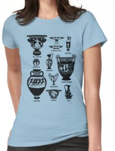 Ancient Greek Pottery Silhouette Womens Fitted T-Shirt