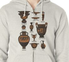 Ancient Greek Pottery Zipped Hoodie