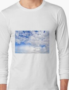 Blue sky with fluffy clouds. Long Sleeve T-Shirt