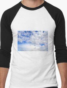 Blue sky with fluffy clouds. Men's Baseball ¾ T-Shirt