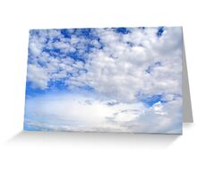 Blue sky with fluffy clouds. Greeting Card