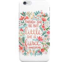 Shakespeare Quote Orange - Though she be but little she is fierce quote iPhone Case/Skin