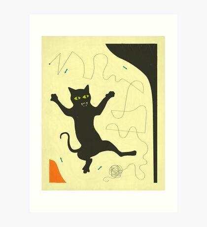 BLACK CAT WITH STRING Art Print
