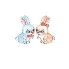 Cartoon rabbits / 6 / Boy and girl by Gribanessa