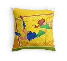 Funny cartoon goal keeping design Throw Pillow