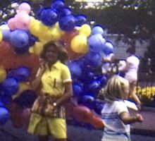 Vintage Kodachrome Slide 1970'S Girl with Balloons  Sticker