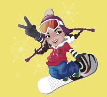 Girl snow boarding Baby Tee