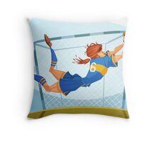 Funny cartoon goal keeping sporting design Throw Pillow