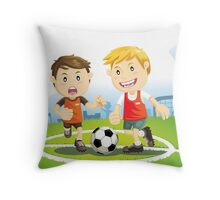 Two boys play soccer on a field Throw Pillow