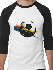 Soccer ball with the Brazilian flag Men's Baseball ¾ T-Shirt