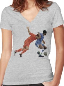 Basketball cartoon characters Women's Fitted V-Neck T-Shirt