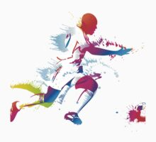 Colorful footballer chasing the ball graphics Kids Tee