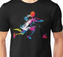 Colorful footballer chasing the ball graphics Unisex T-Shirt