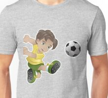 Brazil boy kicking the football flag background Unisex T-Shirt