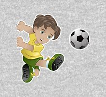 Brazil boy kicking the football flag background Unisex T-Shirt