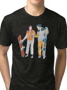 Snowboard boy amp girl illustration Tri-blend T-Shirt