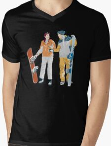 Snowboard boy amp girl illustration Mens V-Neck T-Shirt