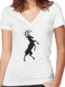 Elk silhouette art Women's Fitted V-Neck T-Shirt