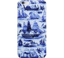 VINTAGE SAILING VESSELS AND SHIPS,Navy Blue Nautical Collection iPhone Case/Skin