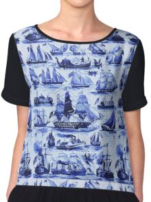 VINTAGE SAILING VESSELS AND SHIPS,Navy Blue Nautical Collection Chiffon Top