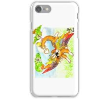 Rainbowing dragon playing with parakeets iPhone Case/Skin