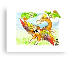 Rainbowing dragon playing with parakeets Canvas Print