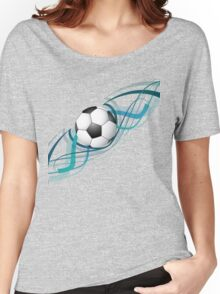 Abstract football colorful line wave design Women's Relaxed Fit T-Shirt