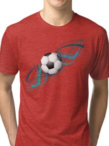 Abstract football colorful line wave design Tri-blend T-Shirt