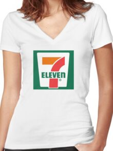 7-11 Logo, Simple. Women's Fitted V-Neck T-Shirt