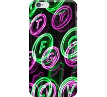 Neon typewriter keys close up iPhone Case/Skin