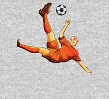 Orange dress soccer playing flaying kick art Unisex T-Shirt