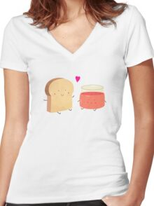 Bread loves jam Women's Fitted V-Neck T-Shirt