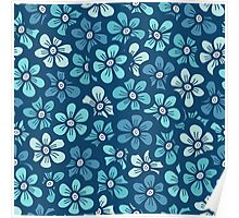 Cute blue flower  pattern Poster