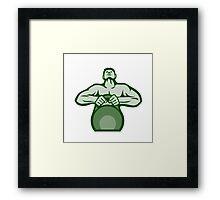 Athlete Weightlifter Lifting Kettlebell Retro Framed Print