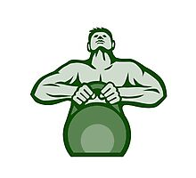 Athlete Weightlifter Lifting Kettlebell Retro Photographic Print