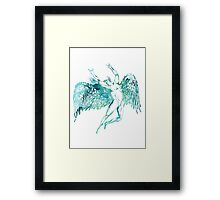 ICARUS THROWS THE HORNS - WATERCOLOR Framed Print