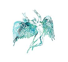 ICARUS THROWS THE HORNS - WATERCOLOR Photographic Print