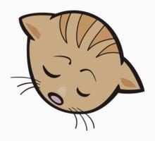 Sleeping brown cat head art Kids Tee