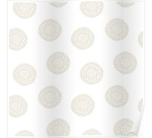 simple doodle white flower pattern Poster