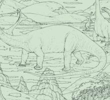 Dinosaur Scene, Green Background Sticker