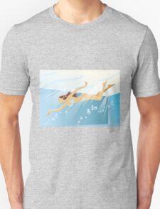 Swimming bikini girl Unisex T-Shirt