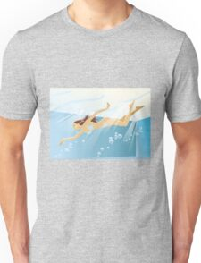 Swimming bikini girl Unisex T-Shirt