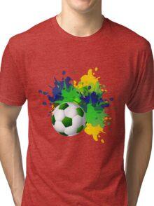 Brazil flag set colors concept splash grunge Tri-blend T-Shirt