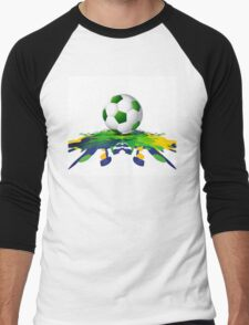 Soccer beautiful texture with brazil colors Men's Baseball ¾ T-Shirt