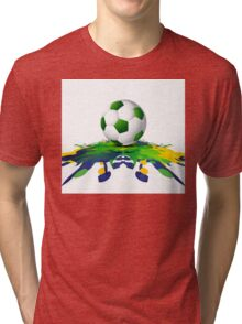 Soccer beautiful texture with brazil colors Tri-blend T-Shirt