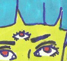 Alien Girl With Third Eye Sticker