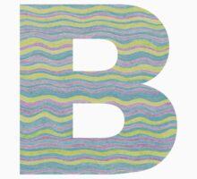Letter B Neon Wavy Stripe Pattern Monogram Initial Kids Tee